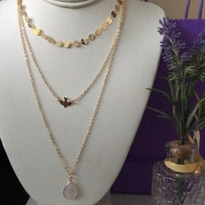 Three layered gold color necklace fashion jewelry